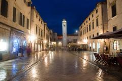 Old Town Walks (zeuszain) Tags: longexposure travel building evening europe croatia clocktower dubrovnik stalls