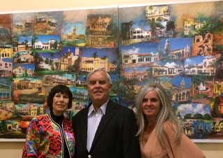 Artist Erika King with Coral Gables mayor Jim Cason and Karelia Carbonell, pres. of the Coral Gables preservation Association, at the fundraising reception and dinner honoring Erika and her collage of Coral Gables at City Hall