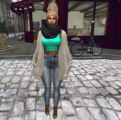 Cozy.    (Destinii Demina   She.Who.Dares) Tags: life scarf hair shoes ss blues sl secondlife second coma esque eaters ootd demina destinii