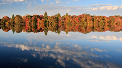 Reflections at Belmont (Bill'sLIPhotos) Tags: park blue autumn lake ny newyork color reflection fall water clouds canon eos li pond october belmont longisland foliage 2014 belmontlake 70d efs18135stm