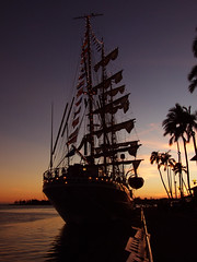 Cuauhtemoc at Sunset (colleeninhawaii) Tags: sunset harbor boat ship oahu navy flags mexican sail honolulu hawai pier9