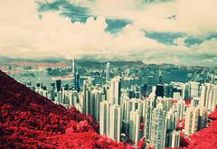 The Peak - EIR 02 (bluetrayne) Tags: city red skyline clouds skyscraper landscape hongkong asia cityscape infrared 香港 colorinfrared analogphotography victoriapeak kodakeir infraredphotography ektachromeinfrared