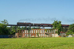 The Queen Of Steam On Cotton Mill Trestle (Nolan Majcher) Tags: trestle mill century j nw ns norfolk 21st class steam southern lynchburg cotton western and locomotive passenger streamlined shrouded excursion 611 958 shrouding