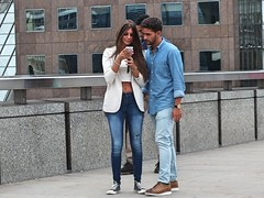 Blue & White (Waterford_Man) Tags: hot jeans blue girl bare midriff midrift tan tanned street people path london