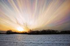 Nuclear Winter (Matt Molloy) Tags: mattmolloy timelapse photography timestack photostack movement motion colourful sky clouds trails lines sun light sunset warm cold winter snow field trees seeleysbay ontario canada landscape lovelife