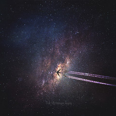 intergalactic II (Dyrk.Wyst) Tags: galaxy space surreal airplane stars universe manipulation texture dreamy contrails endless milkyway milchstrasse