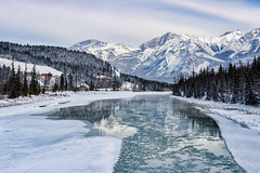 Ice in the Reflections (Kristin Repsher) Tags: alberta athabascariver canada canadianrockies df frozen jasper jaspernationalpark nikon reflections river rockies rockymountains snow winter