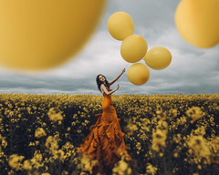 The land of colour (Adam Bird Photography) Tags: adambirdphotography adambird yellow field balloons dress tall fashion conceptual surreal fineart flickr explore