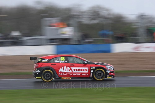 Adam Morgan in race three at the British Touring Car Championship 2017 at Donington Park