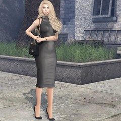 #155 Who are you to change this world. (Violet Batriani   Blogger   Model) Tags: secondlife secondlifefashion bento catya vista leather dress formfitted purse pumps black city grass watch