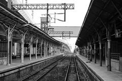 Railroads (Nancy CJ Hsu) Tags: railroad rail train abandon old taichung taiwan blackandwhite black white platform
