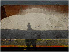 Finally, she found herself in the desert ... (michelle@c) Tags: urban landscape industrialaera selfportrait abstraction imprint shadow industry cement piles barges quays water seine paris 2017 michellecourteau