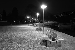 BENCHES AT A LAKE DURING NIGHT B+W (Mike Reval) Tags: switzerland ticino bw night lake