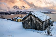Twin peaks. (darklogan1) Tags: peaks snow norway artic troms cabin hut fiord logan darklogan1