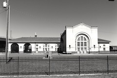 Old train depot in Chickasha, Oklahoma (kevinellison62) Tags: blackwhite architecture trains traindepot chickasha oklahoma building oldbuilding