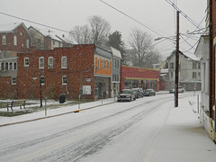 Downtown on a snowy morning (Photo Squirrel) Tags: outdoor winter building park downtown city truck car snow brunswick