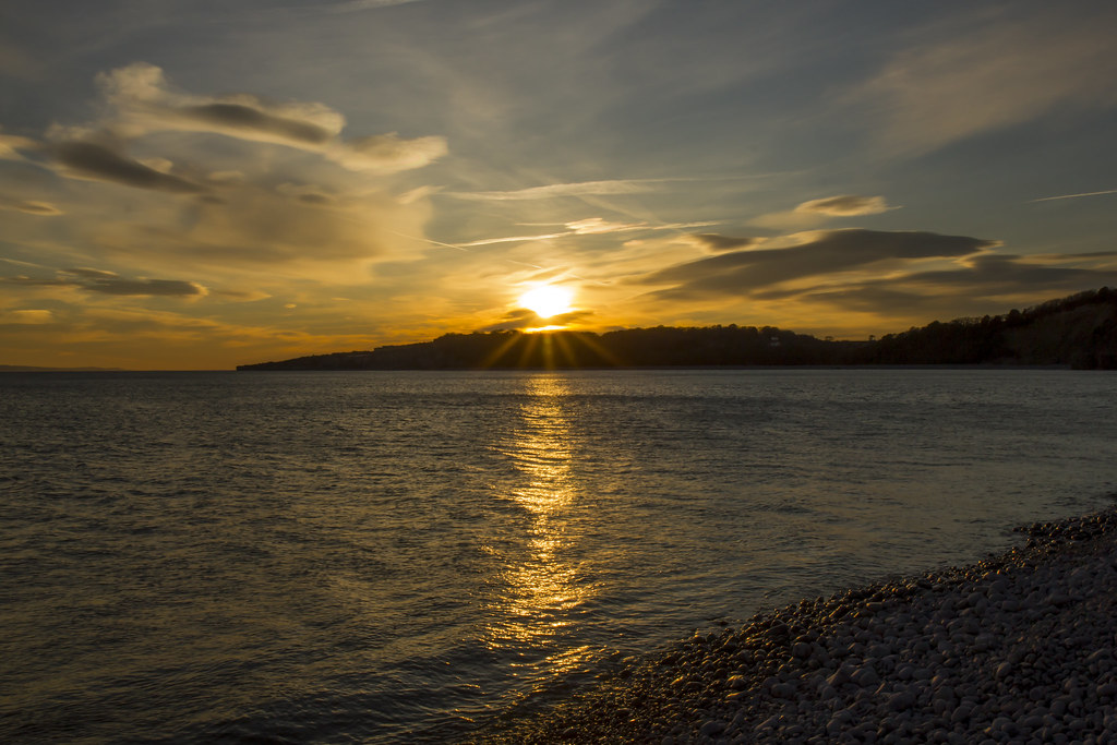Sunset at the beach: Cold Knap, Vale of Glamorgan, Wales