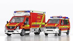 Mercedes-Benz Sprinter Ambulance and VW T5 Emergency Physician's Car - Rettungswagen und Notarzteinsatzfahrzeug (Niklas-B) Tags: lego ldraw ldcad povray render ambulance firedepartment firebrigade rettungsdienst rettungswagen notarzt mercedesbenz sprinter vw vwt5 volkswagen t5 nef notarzteinsatzfahrzeug gsf