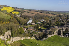 Manston from within the castle (TimEaster) Tags: 34070 manston bulleid corfecastle nationaltrust swanagerailway steam train southern