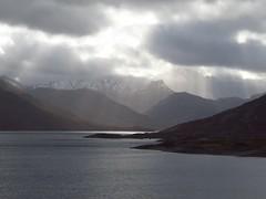 8638 Mountains, loch and sunbeams (Andy - Busyyyyyyyyy) Tags: 20170319 ccc clouds glenquoich lll lochcuiach lochquoich mist misty mmm mountains murk murky qqq reservoir rrr scotland snow sss sunbeams water www