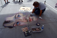 """Chalk artist drawing realistic face • <a style=""""font-size:0.8em;"""" href=""""http://www.flickr.com/photos/34843984@N07/14923734144/"""" target=""""_blank"""">View on Flickr</a>"""