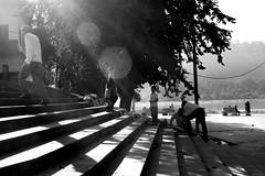 Light | Shadow (Rk Rao) Tags: street people india tree kids lady steps 91 rishikesh wonen gangariver blacwhite uttarakhand