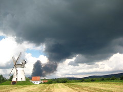 Black Dusk (Hybrid Lycan´s Unknown Headquarter) Tags: blue sky house black mill field clouds landscape mühle heaven dusk feld himmel wolken haus blau landschaft schwarz umgebung rauch unheimlich schrecklich terryfing horryfing