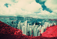 The Peak EIR - 01 (bluetrayne) Tags: city red skyline clouds skyscraper landscape hongkong asia cityscape infrared  colorinfrared analogphotography victoriapeak kodakeir infraredphotography ektachromeinfrared