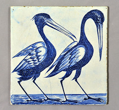 William De Morgan tile with Storks (robmcrorie) Tags: bird heron dutch tile de chelsea crafts arts william blank morgan storks 1870s demorgan williandemorgan