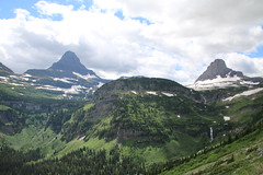 the clouds in the pass (bbosica20) Tags: blue trees sky white snow mountains green nature beauty clouds forest canon landscape montana day cloudy waterfalls glaciers peaks loganpass goingtothesun glaciernp 2014