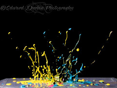 February 24 2013 002 (Ed Durbin (Katodog)) Tags: music abstract motion color reflection water glass flow photography beads drops jump jumping paint wine action bass flash drop pump fluid sound refraction swirls ripples splash liquid gel dripping bounce bouncing swirling gelled