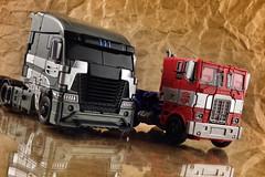 Galvatron and Optimus Prime (thenatureboywoo) Tags: truck prime big semi age transformers rig optimus wheeler 18 mode extinction autobot autobots decepticon decepticons galvatron evasion cabover