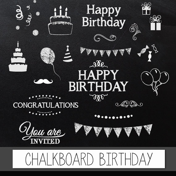 Chalkboard Clipart Birthday Digital Clip Art QuotCHALKBOARD BIRTHDAYquot Pack With Happy