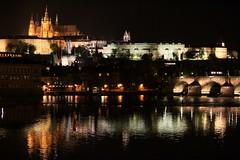 Prague by night (Dro-San) Tags: reflection castle night river view prague praha praga nightview