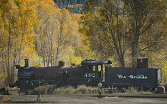 Number 492 (KGHofSF) Tags: railroad morning autumn trees newmexico yard train photography gold photo wheels tracks engine machine steam depot trucks aspen chama steamengine riogrande cumbrestoltec denverriograndewestern kghofsf number492