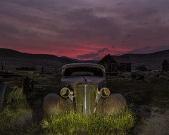 Driving away, Bodie sunset (Aztravelgrl (Forgotten Places Photography)) Tags: california nightphotography sunset usa lightpainting car ghosttown moonlight bodie bodieghosttown