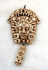 face with headdress and dangle (SelenaAnne) Tags: face handmade polymerclay bead pendant fauxivory fauxbone