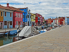 Along the Canal in Burano (Atelier Teee) Tags: houses italy village streetscene burano colorfulhouses
