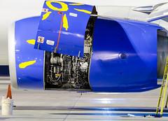 Engine maintenance (cegoyer) Tags: photography gate nightshot montreal aviation engine swg maintenance remote boeing 737800 sunwing b738 cyul cfm56 cgowg