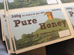 Our honey jar labels have arrived from the printers.