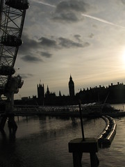 London Riverfront (616thirteen) Tags: sunset london water thames clouds river boat londoneye parliament bigben shadowed