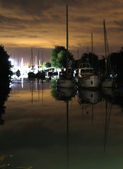 Autumn Approaches (Jon_Wales) Tags: longexposure autumn england water night reflections boats mirror evening boat glow harbour yacht gloucestershire yachts sheltered lydney