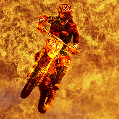 Fiery action (kimbenson45) Tags: red hot fire jumping colorful action flames heat colourful motocross flaming fiery