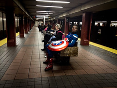 IMG_0600.jpg (john fullard) Tags: nyc urban newyork color colour station underground subway costume phone metro cosplay manhattan platform mta captainamerica iphone 34thst phoneshots