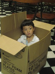 Eric's Play Station (missranger) Tags: male restaurant child box chinese cardboard