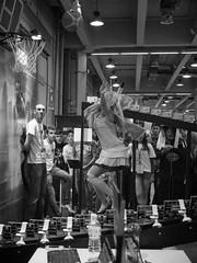Gamesweek 2014 (simo mura) Tags: blackandwhite bw girl monochrome festival jump fuji basket cosplay milano videogame bullettime cosplayers fiera 2014 gamesweek midhair bwlover fujix10