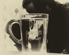 a daughter's first love (MjZ Photography) Tags: blackandwhite baby reflection cup water glass silhouette sepia daddy mirror infant dad sweet father daughter babygirl inverse leighton coffemug