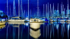 boat blues (eanwe) Tags: longexposure light reflection water sailboat boat objects australia vehicle newsouthwales mast darlingpoint