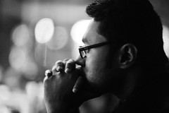 The Bleak Picture Of Hope (N A Y E E M) Tags: farhaan aashiqdj friend barmate candid portrait lastnight light bokeh baikalbar radissonblu hotel chittagong bangladesh availablelight indoors handheld