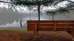 Three Creeks Metro Park (Dan Keck) Tags: columbus franklincounty bench parkbench pond turtlepond water fog